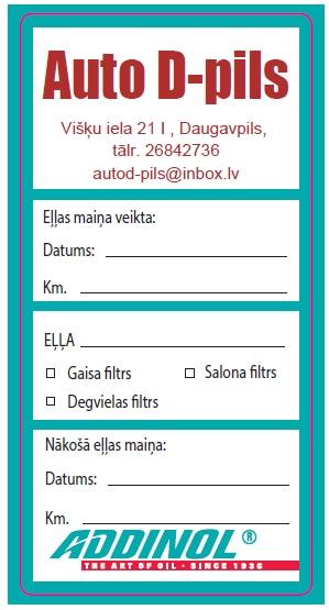 Addinol eļļas maiņa Daugavpils Auto d-pils