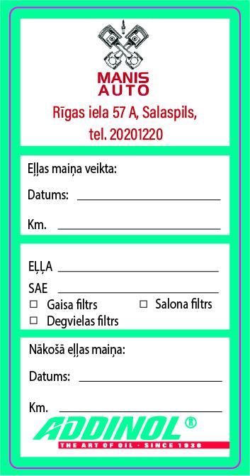 Addinol eļļas maiņa, autoserviss, auto un moto apkope, diagnostika, remonts Salaspilī.