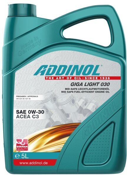 ADDINOL Giga Light MV 0w30,VW 504 00, 507 00, un CNG, LPG dzinēju sintētiskā eļļa,