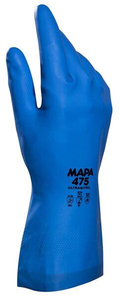 MAPA ULTRAFOOD 475 biezi, necaurlaidīgi nitrila cimdi darbam ar eļļām, ķīmiju, kā arī pārtiku. 89/686/EEC, EN388 (4.1.0.1.), EN421, EN340 un EN374.
