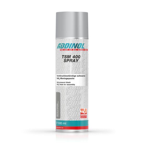 ADDINOL TSM 400 Spray, Sausa molibdena disulfīda MoS2 pasta aerosolā, montāžas darbiem, zobratu un teleskopisko strēļu eļļošanai.