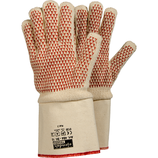 EJENDALS TEGERA karstumizturīgi tekstila darba cimdi ar neslīdošu nitrila teksūru. EN388 (1.2.3.2); EN407 (x2xxxx); Kategorija 3; CE
