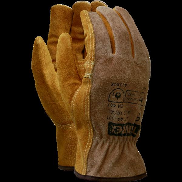 TAMREX vērša ādas īsie metinātāju cimdi ar kevlara vīlēm. EN388 (4.2.4.4); EN407 (41XX4X). Kat 2; CE
